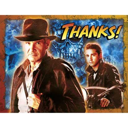Indiana Jones Thank You Notes 8ct