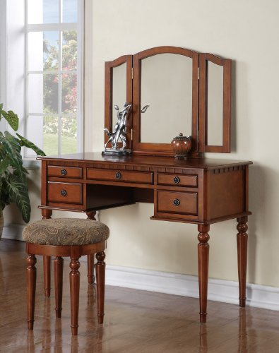 Vanity and Stool Set with Foldout Mirror in Walnut Finish
