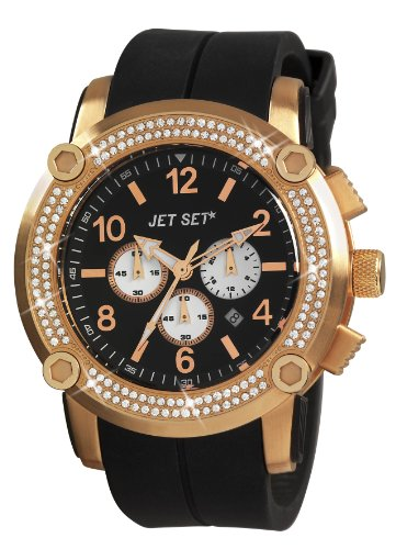 Jet Set J3873R-267 - Reloj cronógrafo de cuarzo unisex, correa de caucho color negro