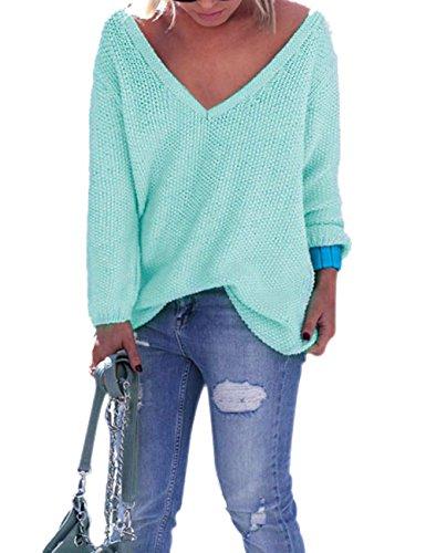 Yidarton Donne Manica Lunga Con Scollo A V Allentato Lavorato A Maglia Maglione Ladies Maglione Casuale Tops (XL, Verde)