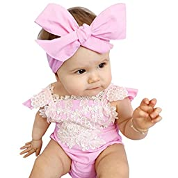 Baby Girls Lace Set, Misaky Floral Romper Jumpsuit Outfits (80, Pink)