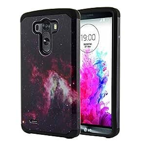 Nextkin LG G3 D850 D851 LS990 VS985 D855 Hybrid Dual Layer Armor Hard Silicone Skin Protector Cover Case - Pink Stars Galaxy Nebula/ Black