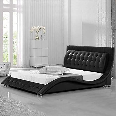 Muebles Bonitos - Cama Madrid DIAMOND Negro-150x190cm (Varios colores y medidas disponibles)