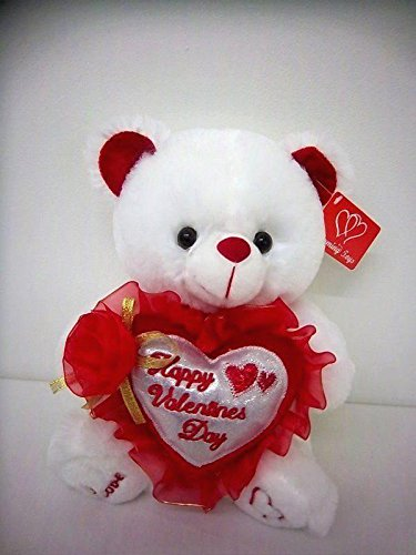 "Happy Valentine's Day Bear 9"" Animal Plush- White with Red Message""Happy Valentine"""