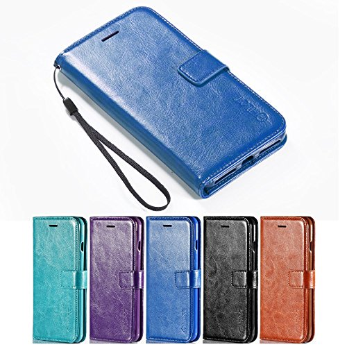 iPhone 7 Case, [5.5 Inch] HLCT PU Leather Case, With Soft TPU Protective Bumper, Built-In Kickstand, Cash And Card Pockets, For iPhone 7 (Blue) (Belkin Vent Mount compare prices)