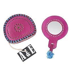 A&E Kutch Classic Leather Funky Handbag Mirror , Hot Pink