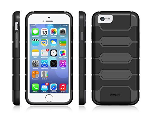 Hot Spot® Iphone 6 Case Premium Tpu Dual Layer Shock Absorbent Hard Case For Iphone 6 4.7 Inch- Verizon, At&T, Sprint, T-Mobile, [Heavy Duty] [Black/Gray]