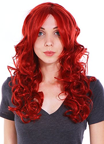 Simplicity Womens Long Curly Hair Wig Wine Red Costume Party Anime Cosplay