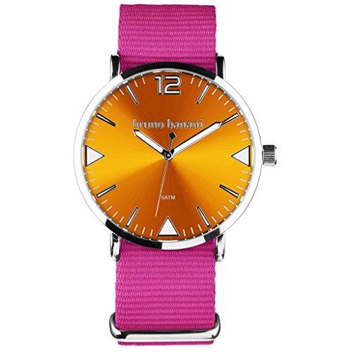 Bruno Banani BR30068Cool Color Watch Unisex Analogue Air Band Metal 50m Pink/Orange