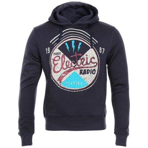 Mens Retro Distressed Station Print Hoody Sweatshirt Hooded Pullover Leisure