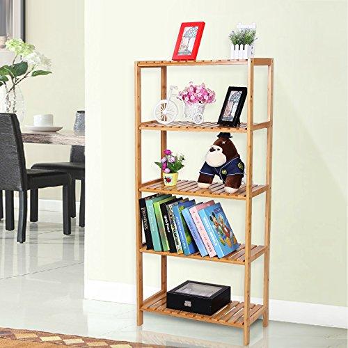 Songmics 5 niveles estanter a de bamb para ba o librer a organizador zapatero 130 x 60 x 26 cm - Amazon estanterias bano ...