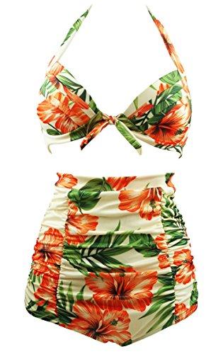 Cocoship Retro Peach Hibiscus & Beige Floral Halter High Waisted Bikini Bathing Suit Swimsuit M(FBA)