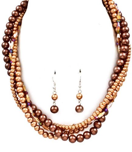 Sparkles Fashion Necklace - Brown Bead Necklace and Earring SET / Multi Strand / Mixed Beads / Faux Pearl / 16 Inch Long / Nickel and Lead Compliant / - Dangle Drop Statement Wedding Jewelry