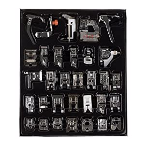 LEMONBEST Professional 32 Pcs Domestic Sewing Machine Presser Walking Foot Set For Brother, Babylock, Singer, Janome, Elna, Toyota, Home, Simplicity, Necchi, Kenmore, and White Low Shank Sewing Machines by Lemonbest