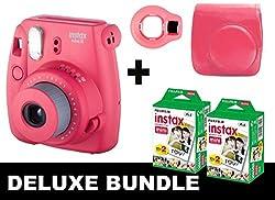 Fujifilm Instax Mini 8 - Raspberry + 40 Pack Instax Film + Case + Selfie