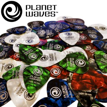 Planet Waves IB-AB1T-SDQT Pearloid Guitar Picks - 48 Assorted Variety Pack with 24 Medium Gauge (.70MM), 12 Light Gauge (.50MM), and 12 Heavy Gauge (1.0MM) - Celluloid