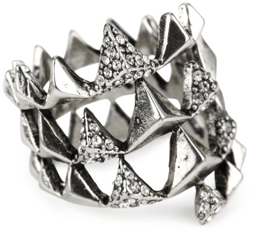 House of Harlow 1960 Silver-Plated Pyramid Wrap Ring, Size 6