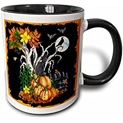 3dRose Halloween Night with a Black Cat, Creepy Tree, Full Moon, Bats and Jack O Lanterns Two Tone Black Mug, 11 oz, Black/White