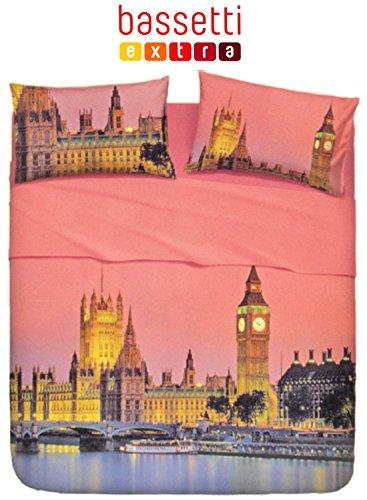 Completo lenzuolo copriletto con balza applicata MATRIMONIALE Bassetti EXTRA Le città LONDRA