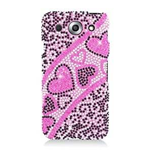 LG Optimus G Pro E980 FULL DIAMOND BLING PINK AND BLACK HEART SNAP ON HARD 2 PIECE PLASTIC CELL PHONE CASE