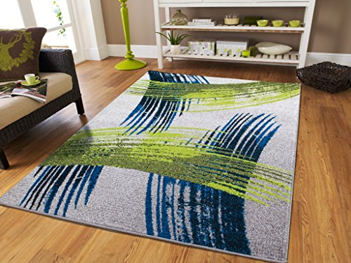 Luxury New Fashion Art Collection Contemporary Modern Rugs Splat Blue Black Cream Gray Green Large 8x11 Floor Rugs for Living Room and Kitchen 8 by 10 Rugs Clearance, Large 8x11