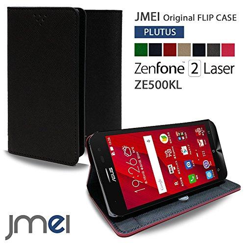 ZenFone2 Laser ZE500KL ケース jmeiオリジナルフリップケース PLUTUS ブラック 楽天モバイル simフリー ASUS エイスース ゼンフォン 2 レーザー スタンド機能付き スマホ カバー スマホケース 手帳型 スマートフォン