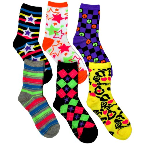 Funky Print Ladies Neon 6 Pack Crew Socks