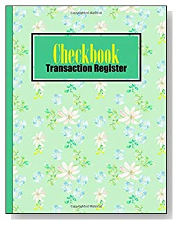 Green Floral Checkbook Transaction Register - A beautiful book with wide lines to easily track all your checking account activity without having to write tiny and cram everything into those little check register booklets.