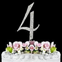 Rhinestone Cake Topper Number 4 by other