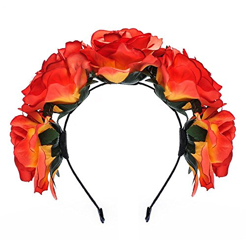 Dreamlily Women's Fascinators Rose Floral Hairband Wedding Wreath Crown BC11 (Orange)