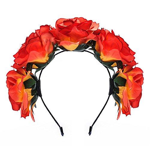 Dreamlily Women's Fascinators Rose Floral Hairband Wedding Wreath Crown BC11 (Orange)