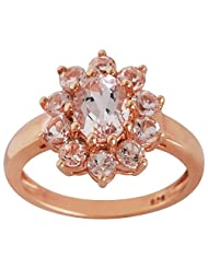 MORGANITE & ROSE GOLD PLATED 925 STERLING SILVER RING JEWELRY FOR WOMEN