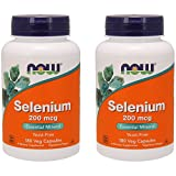 NOW Foods Selenium 200 mcg VCaps, 180 ct (Pack of 2)