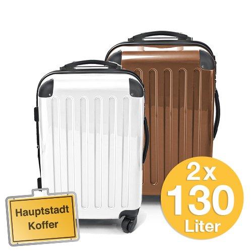HAUPTSTADTKOFFER 2er Set Weiss/Mocca Braun (130Liter/130Liter)