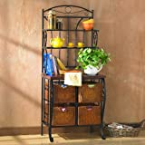 Iron/Wicker Baker's Rack with 4 Storage Drawers
