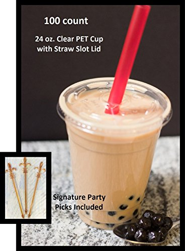 100 Sets 24 Oz Plastic Clear Cups with Flat Lids for Iced Coffee Bubble Boba Tea Smoothie (24 Oz Plastic Cups With Lids compare prices)