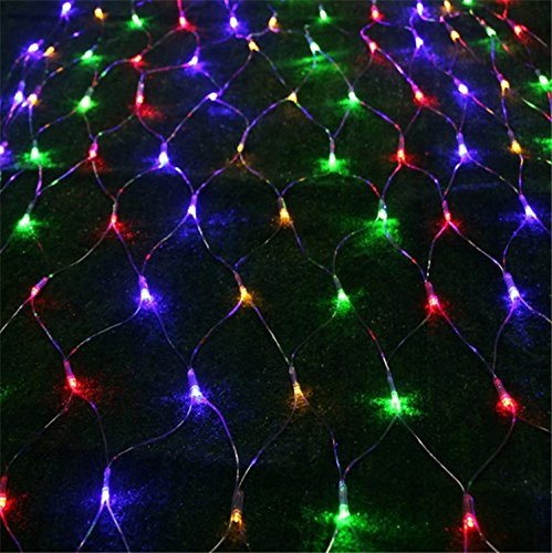 Hikong Led Net Lights 1.5M*1.5M Xmas Curtain Light Meshwork Wedding 144 Leds 110V 8 Modes Christmas String Party Festival Fairy Curtain Strings (Colored)