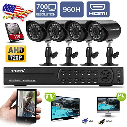 Review FLOUREON 4CH 960H AHD CCTV DVR Security System with 1TB HDD and 4x 700TVL Night Vision Bullet...