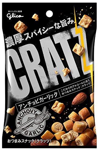Glico CRATZ ANCHOVY & GARLIC with Almond Crunchy Cracker 42g x 10 from Japan