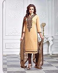 V-Kart Women's Cotton Unstitched Dress Material (Vkart_355_Cream_Free Size)