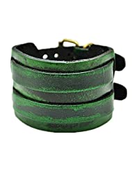 Green Real Leather with Bronze Buckle Men's Leather Wristband Cuff Bracelet, Women's Cuff Bracelet SL2347