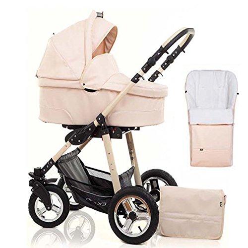 2 in 1 Kinderwagen Neo X3 - Kinderwagen + Sportwagen + Fußsack + GRATIS ZUBEHÖR in Farbe Sand-Kunstleder