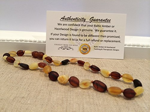 Baltic Amber Teething Necklace for Babies (Unisex) - Anti Flammatory, Drooling & Teething Pain Reduce Properties - Certificated Natural Oval Baltic Jewelry with the Highest Quality Guaranteed. Easy to Fastens with a Twist-in Screw Clasp Mothers Approved Remedies! Multi Milk Cognac Cherry Lemon Brown Black Yellow White Honey Raw Maximum Effective