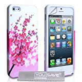 iPhone 5 Silicone Floral Bee Gel Case - Pink / Whiteby Yousave Accessories