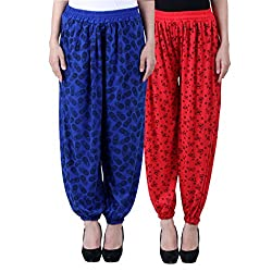 NumBrave Printed Viscose Blue & Red Harem Pants (Pack of 2)