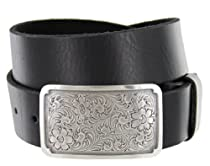 Silver Engraved Square Western Full Grain Leather Casual Jean Belt