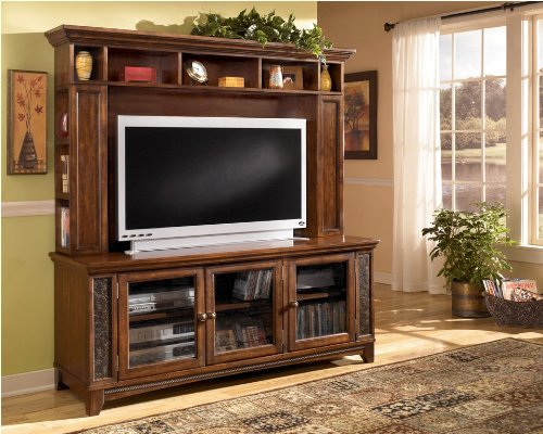 Cheap Brown TV Stand with Hutch (ASLYW570-21_W570-21H_2PC)