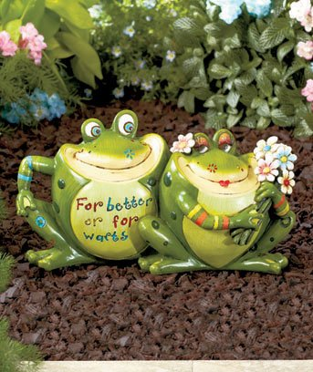 "Fun Frog Couple Statue ""For Better Or For Warts"""