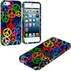 myLife (TM) Rainbow Peace Sign Overload Series (2 Piece Snap On) Hardshell Plates Case for the iPhone 5/5S (5G) 5th Generation Touch Phone (Clip Fitted Front and Back Solid Cover Case + Rubberized Tough Armor Skin)