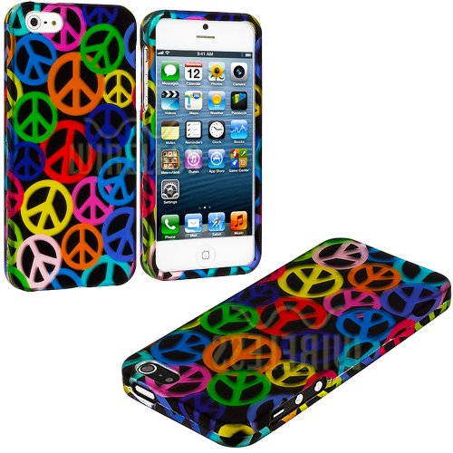 #1  myLife (TM) Rainbow Peace Sign Overload Series (2 Piece Snap On) Hardshell Plates Case for the iPhone 5/5S (5G) 5th Generation Touch Phone (Clip Fitted Front and Back Solid Cover Case + Rubberized Tough Armor Skin + Lifetime Warranty + Sealed Inside myLife Authorized Packaging)